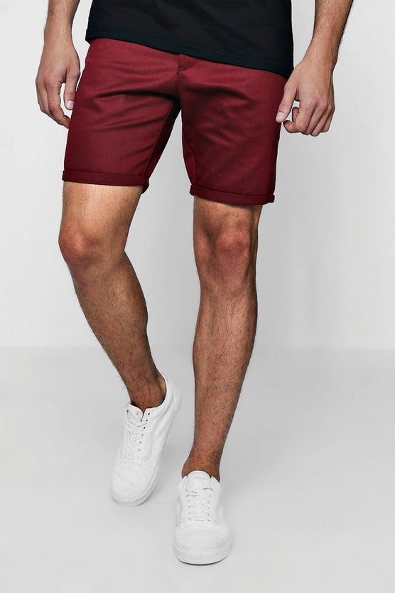 Mid Length Slim Fit Chino Short In Burgundy