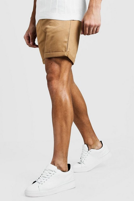 Mens Stone Mid Length Slim Fit Chino Shorts In Stone