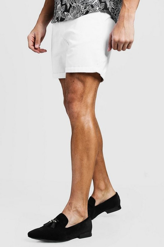 Mid Length Slim Fit Chino Short In White, White, МУЖСКОЕ