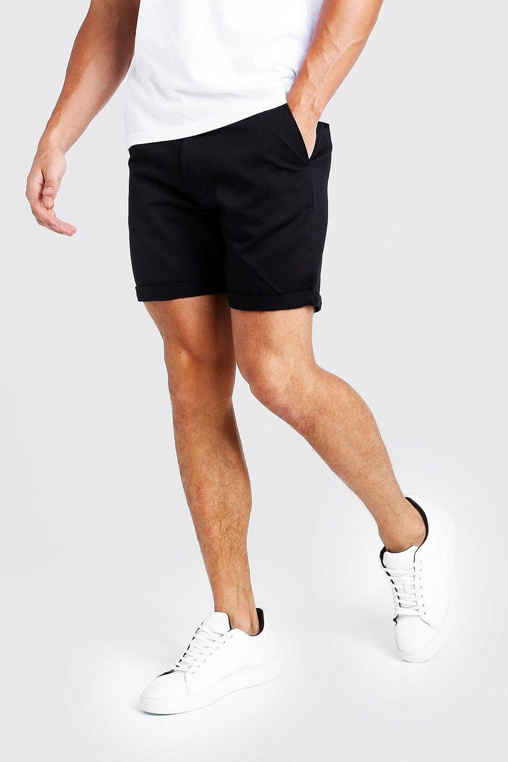 f843fb671896 Pantalones cortos chinos de largo medio en color negro