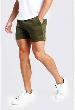 Mens Short Length Slim Fit Chino Short In Khaki