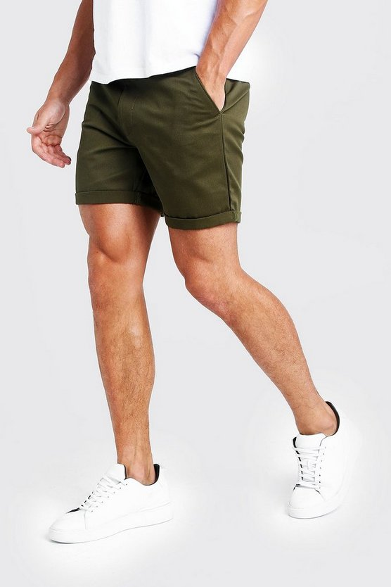 Mid Length Slim Fit Chino Short In Khaki