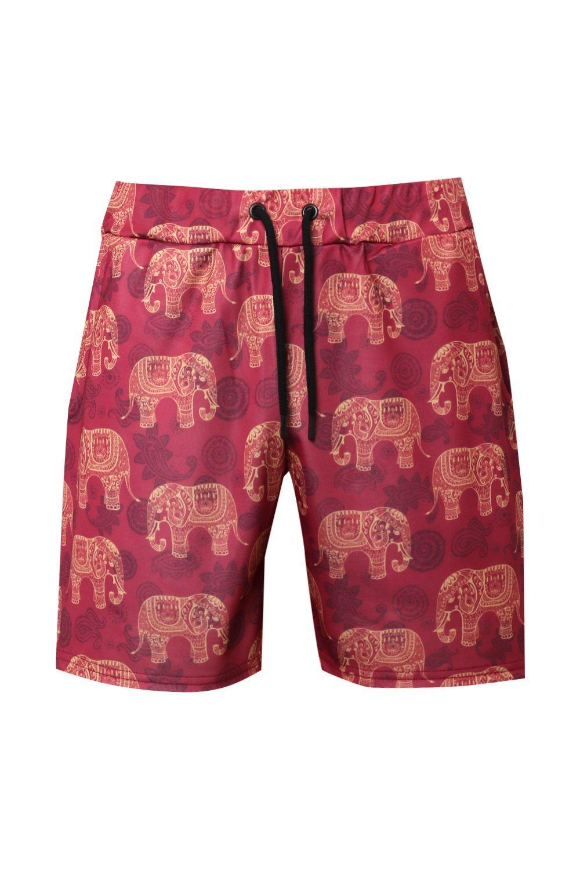 de elefantes con punto pantalones Conjunto rojo de cortos tribales de estampado f1qUPwq