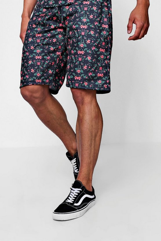Mens Black Ditsy Print Mid Length Jersey Shorts