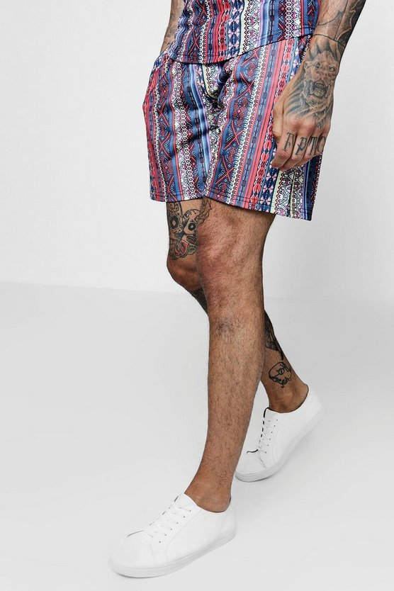Multi Aztec Tribal Print Mid Jersey Shorts