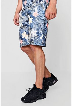 Mens Multi Floral Palm Print Mid Jersey Shorts