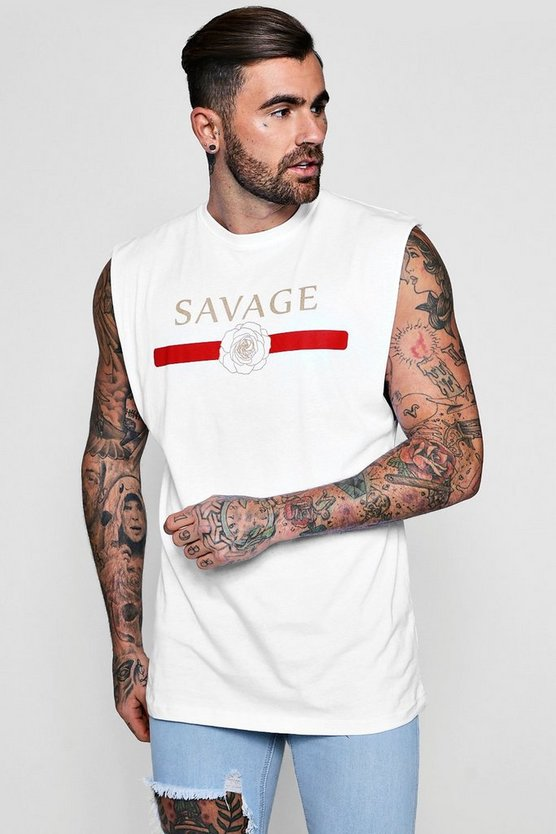 White Savage Print Tank