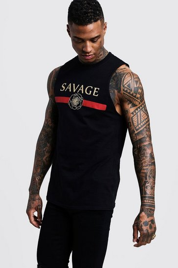 Mens Black Savage Print Tank