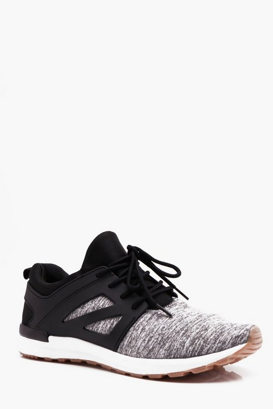 Mens Grey Knitted Lace Up Trainer