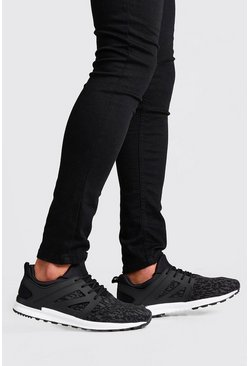 Mens Black Knitted Lace Up Sneaker