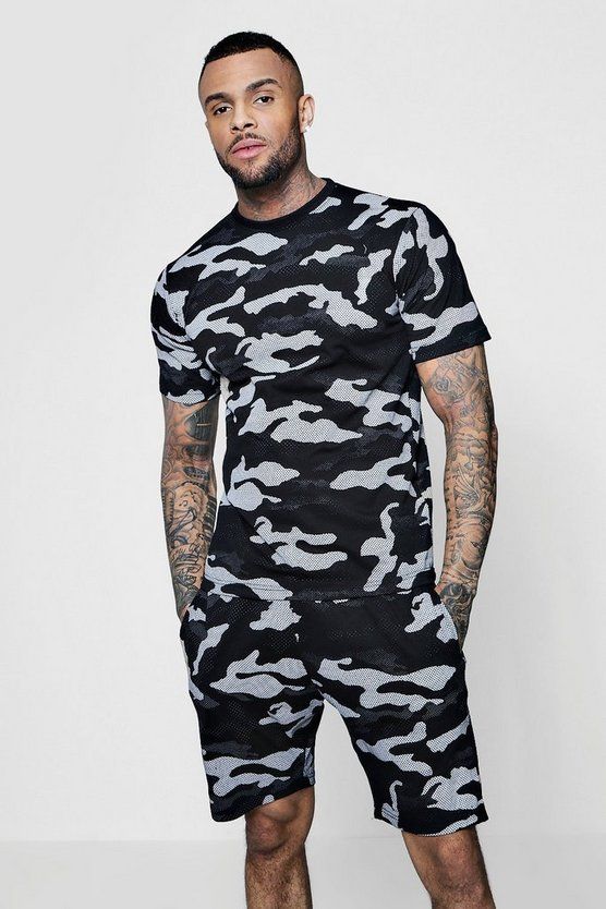 Mens Black Camo T-Shirt And Short Set