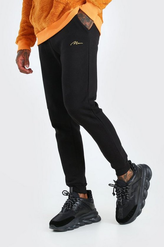 Mens Black MAN Signature Skinny Fit Jogger