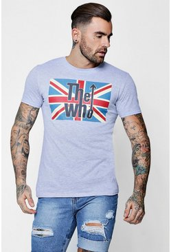 Mens Grey Union Jack The Who Licence T-Shirt