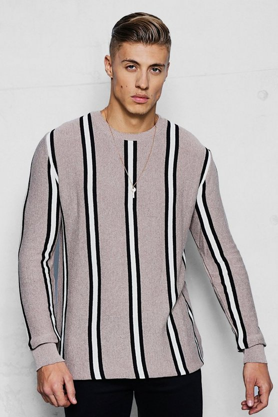 Mens Camel Vertical Stripe Knitted Jumper