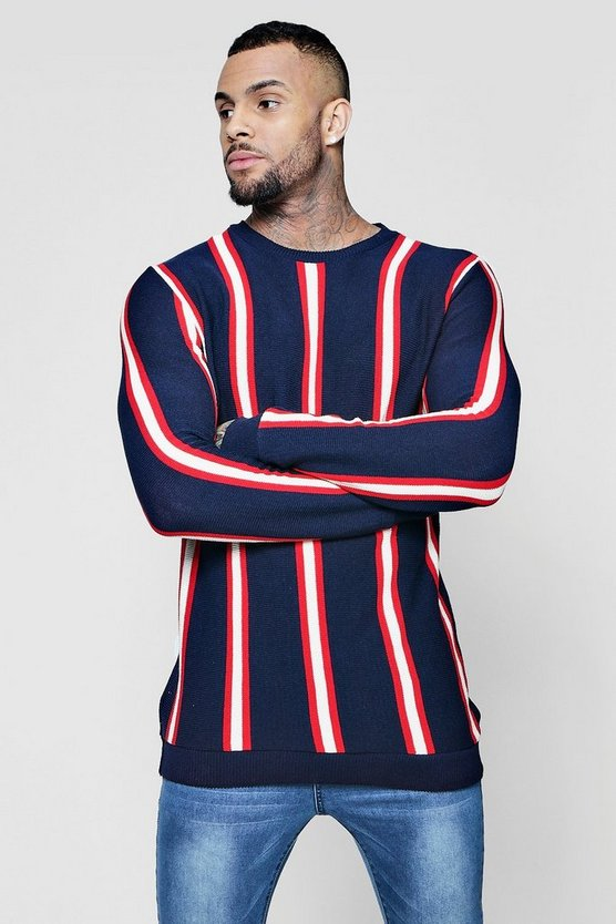 Mens Navy Vertical Stripe Knitted Jumper