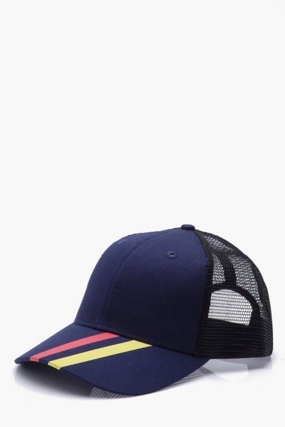 Sports Stripe Mesh Trucker