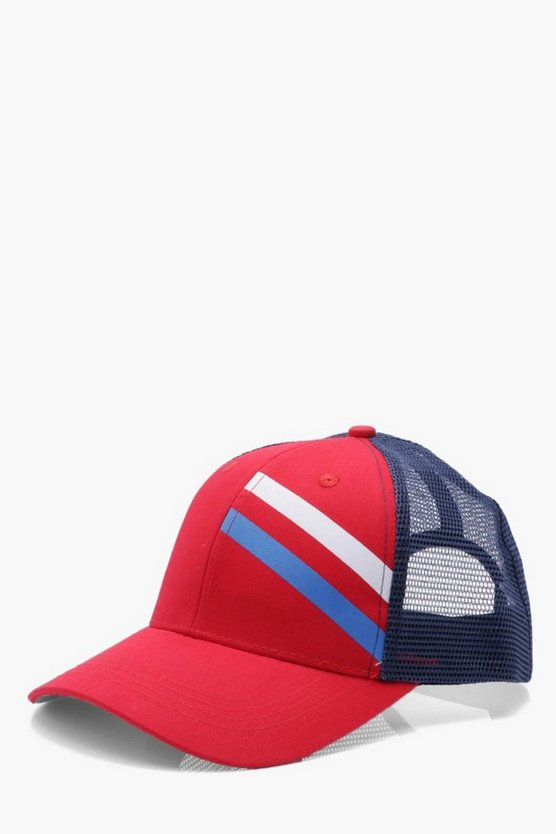 Sports Stripe Mesh Trucker Cap