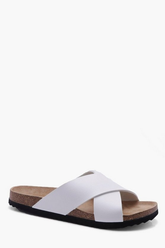 Cross Strap PU Footbed Slider