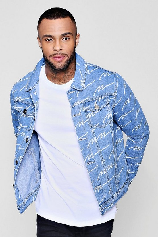 Mens Mid blue MAN Signature Denim Jacket