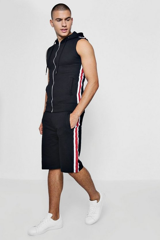 Short Hooded Sleeveless Tracksuit With Taping