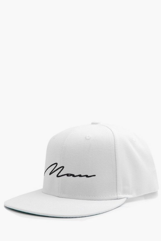 MAN Script Embroidered Snap Back
