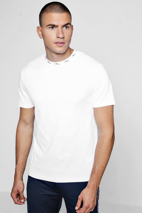 MAN Signature Embroidered Rib T-Shirt