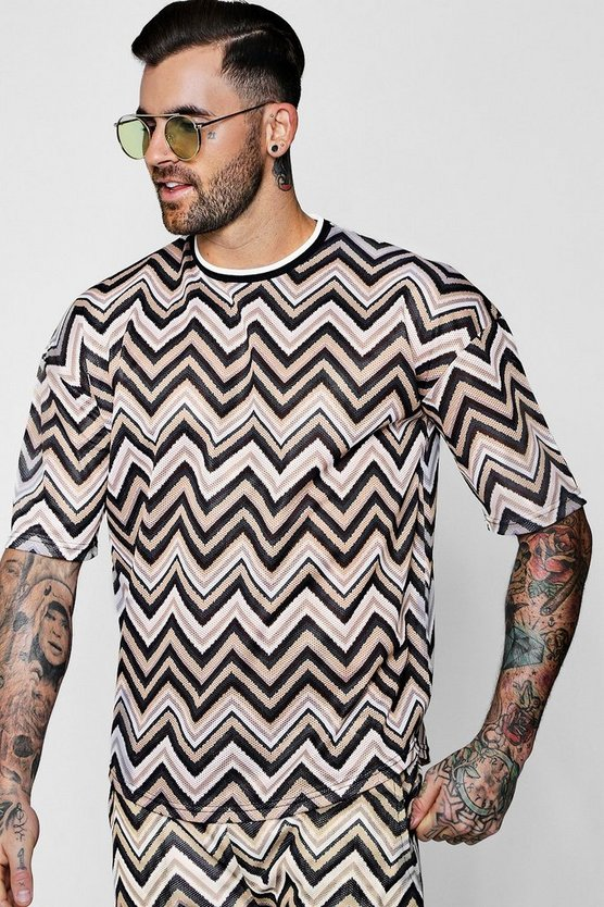 Aztec Mesh T-Shirt With Rib Neck Co-ord