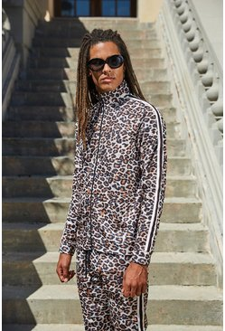 Mens Brown Leopard Funnel Neck Top
