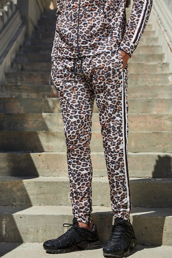 French Skinny Fit Jogginghose mit Leoparden-Print