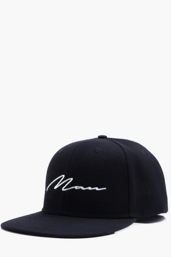 Mens Black MAN Script Embroidered Snap Back