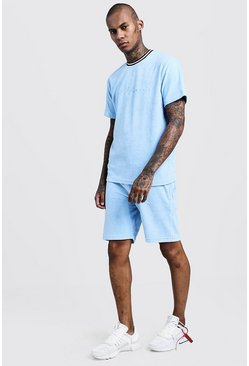 Mens Pale blue Velour MAN Signature Short Tracksuit
