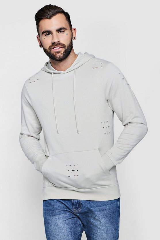 Mens Pumice stone Over The Head Distressed Hoodie