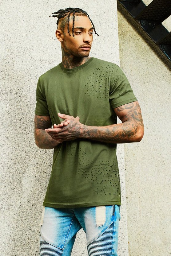 Mens Olive Longline Distressed T-Shirt