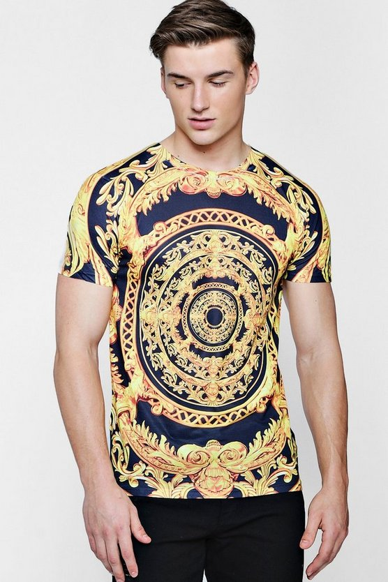Mens Black Baroque Circle Print T-Shirt