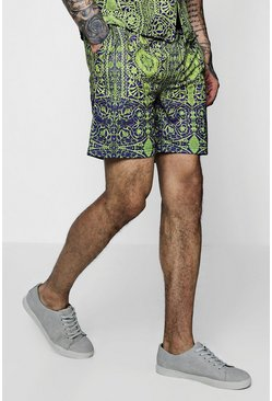 Mens Gold Chain Print Mid Length Shorts
