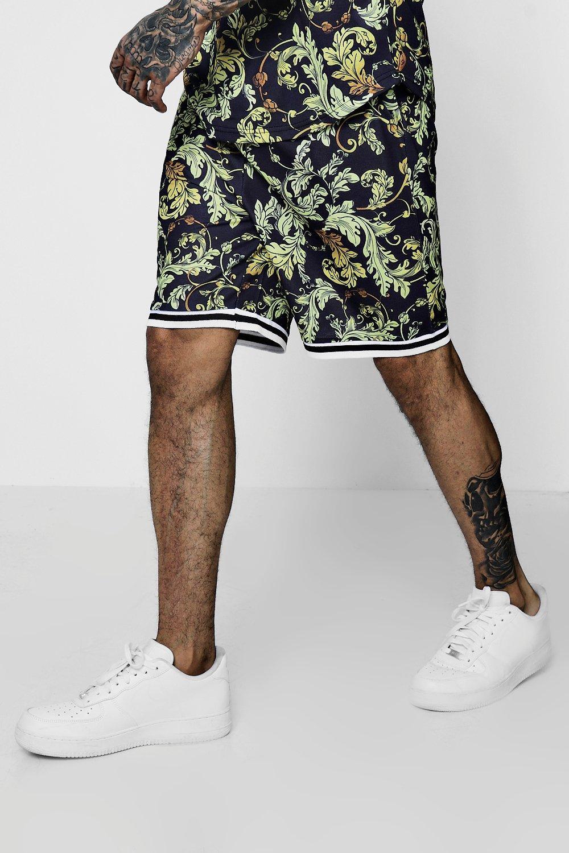 en Pantalones estampado de barroco negro cortos canalé baloncesto con 7xrrntqwY
