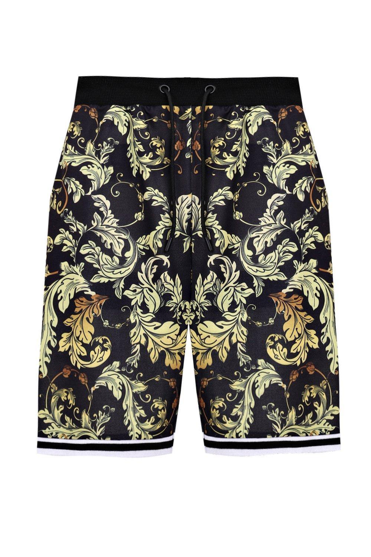 barroco de canalé Pantalones negro en cortos baloncesto estampado con Sc6q0Ua