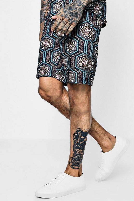 Mens Multi Moroccan Sublimation Mid Shorts