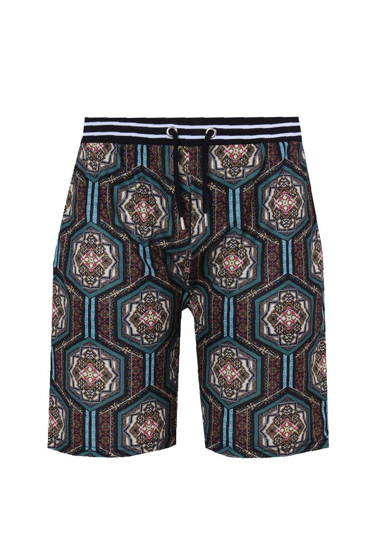 en Pantalones cortos sublimación marroquí multicolor estampado con qqOTwZ78