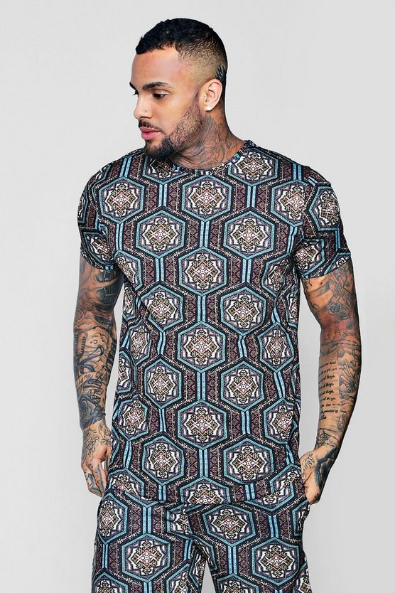 Moroccan Sublimation Print T-Shirt With Curve Hem