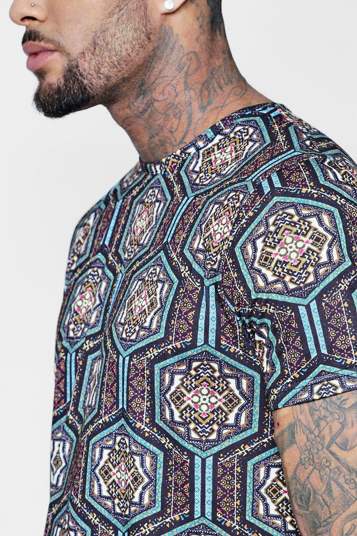 estampado con sublimación multicolor en con Camiseta marroquí bajo curvo 5qXFw