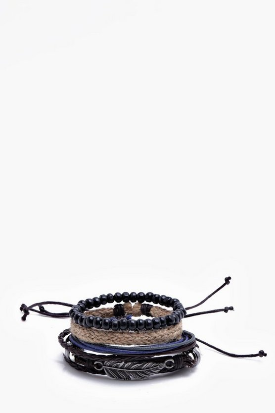 Feather Woven Stack Bracelet
