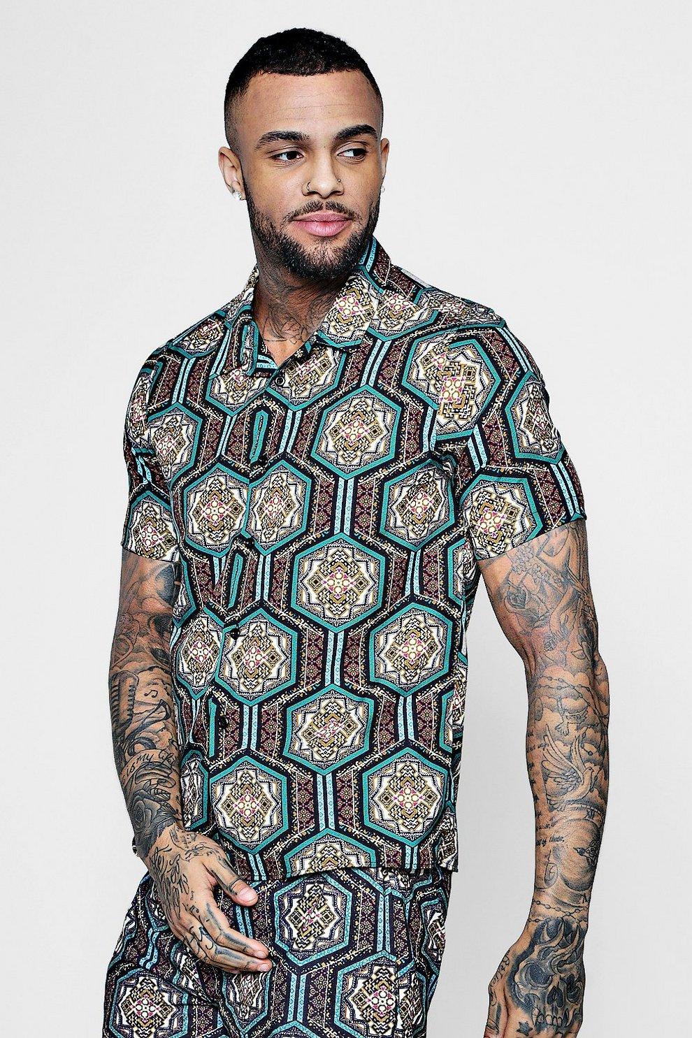 Chemise col tailleur à manches courtes imprimé marocain  36b12ec634a