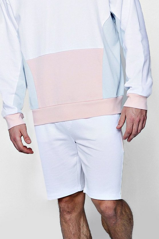 Colour Block Jersey Mid Length Shorts