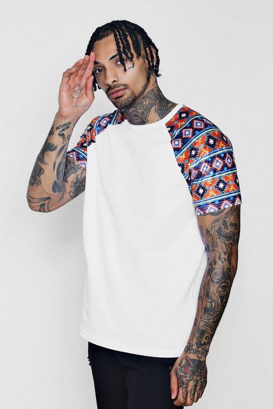 Raglan T-Shirt With Printed Velour Sleeves