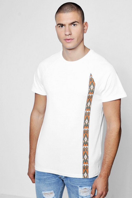 Crew Pocket T-Shirt With Aztec Print