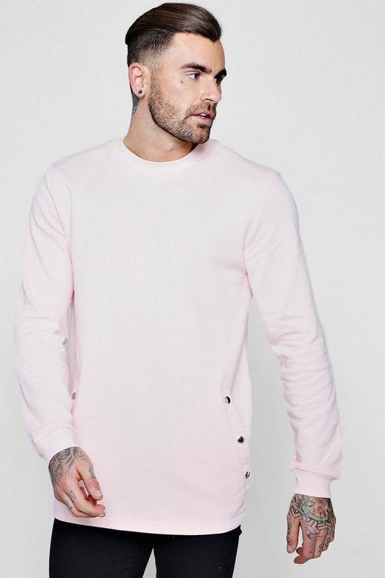 Longline Sweater With Popper Button