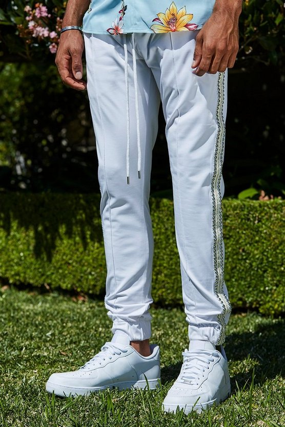 Mens White French Skinny Pintuck Joggers With Studs