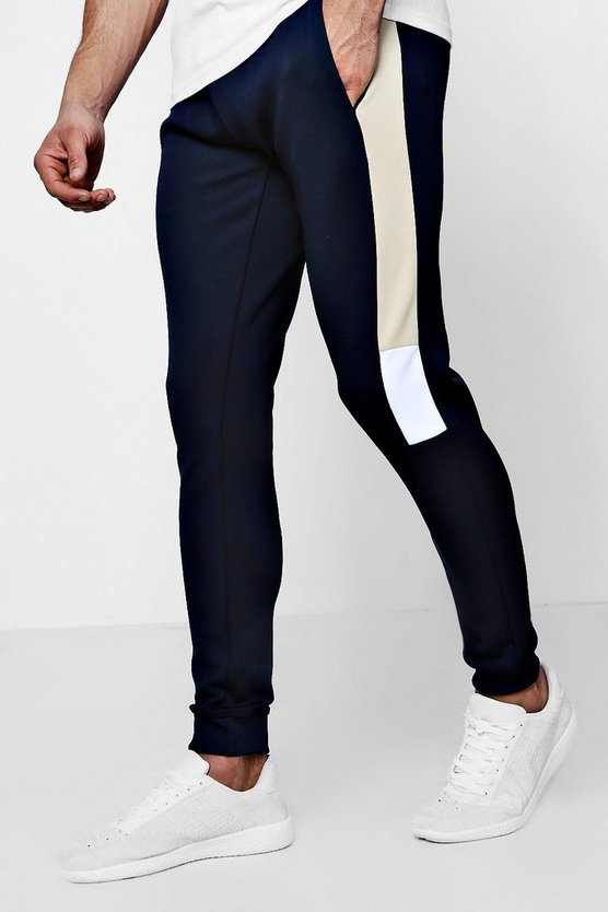 Mens Navy Super Skinny Panel  Jersey Joggers