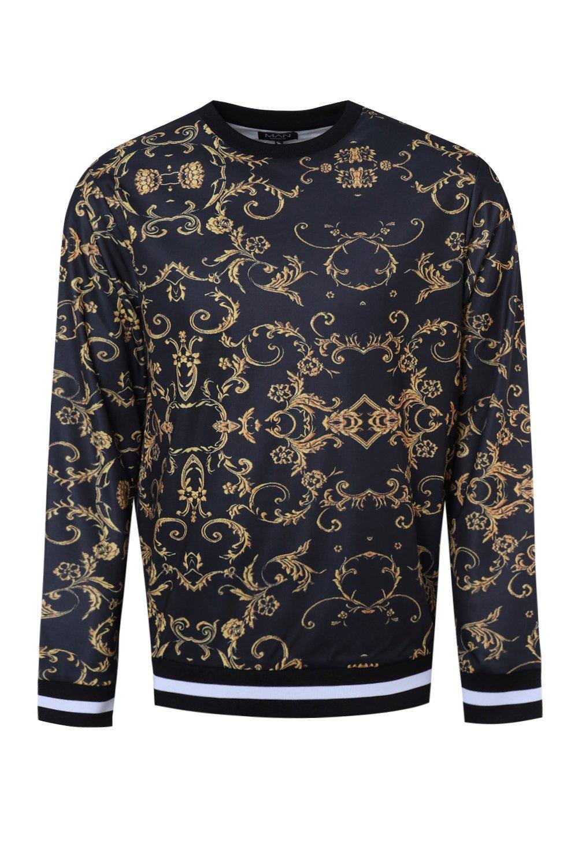 Suéter negro con estampado French barroco w76xZPCcq